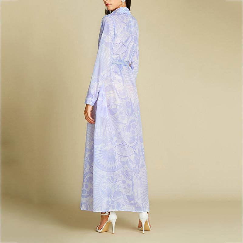 Elegant Print Long Sleeve Lapel Maxi Women Dress