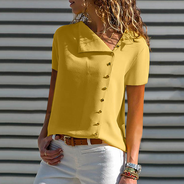 Casual Solid Color Button Blouse