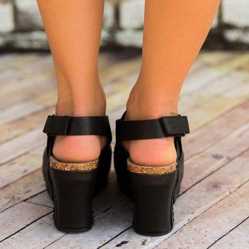 Open Toe Front Cut Out Magic Tape Wedge Heel Sandals