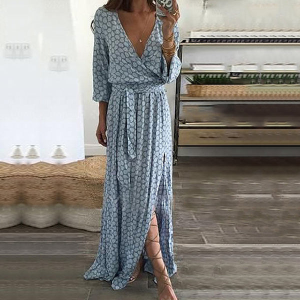 Sexy V Neck Lace-Up Maxi Dress