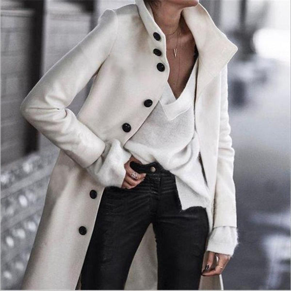 Buttoned Stand Collar Casual Long Coat