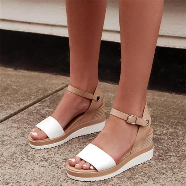 Peep Toe Magic Tape Wedges Crossed Sandals