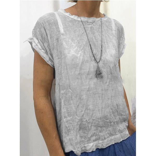 Short Sleeve Round Neck Solid Color Blouse