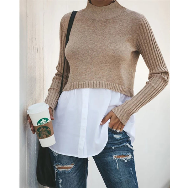 Patchwork Ribbed Sleeve Pullover