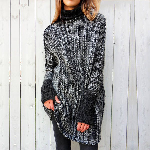 Casual High Neck Long Sleeve Sweaters