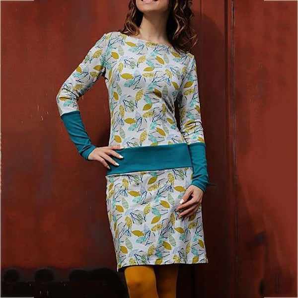 Slim Printed Stitching Long-Sleeve Dress