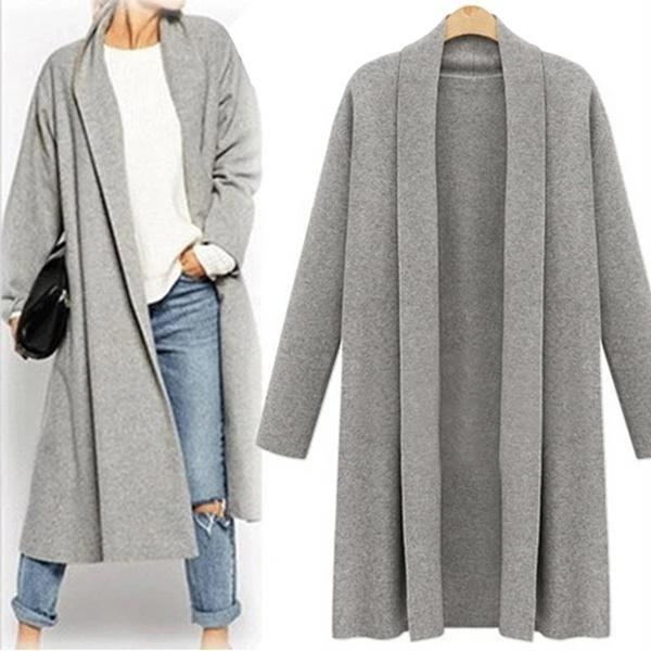 Women Open Front Trench Coat Long Cloak Cardign
