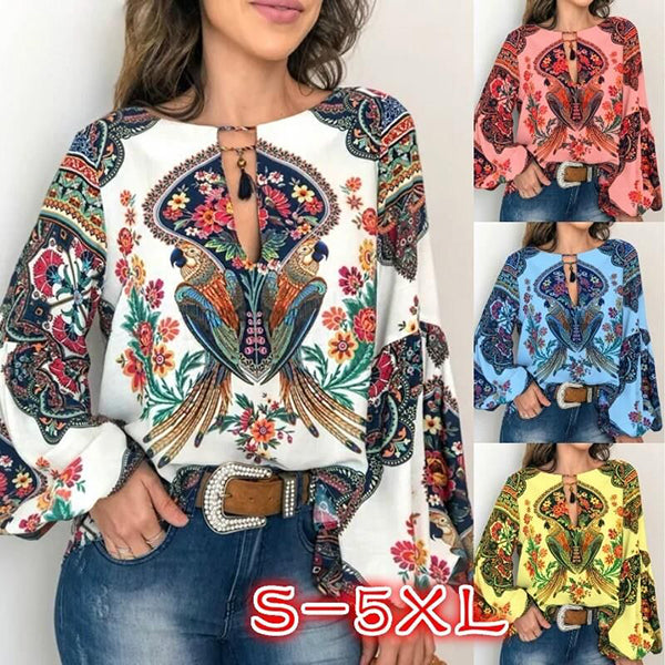 Bohemian Printed V Neck Blouse
