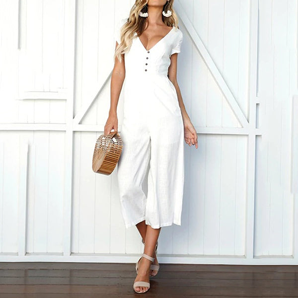 Casual V Neck Button Jumpsuits