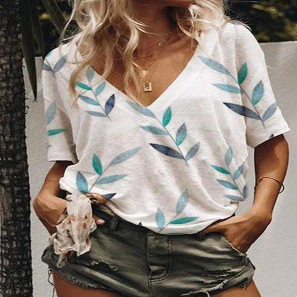 Casual Leaf Printed V Neck Blouse