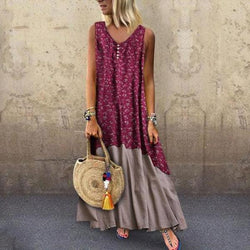 Plus Size Sexy Round-Neck Bohemian Sleeveless Print Dress