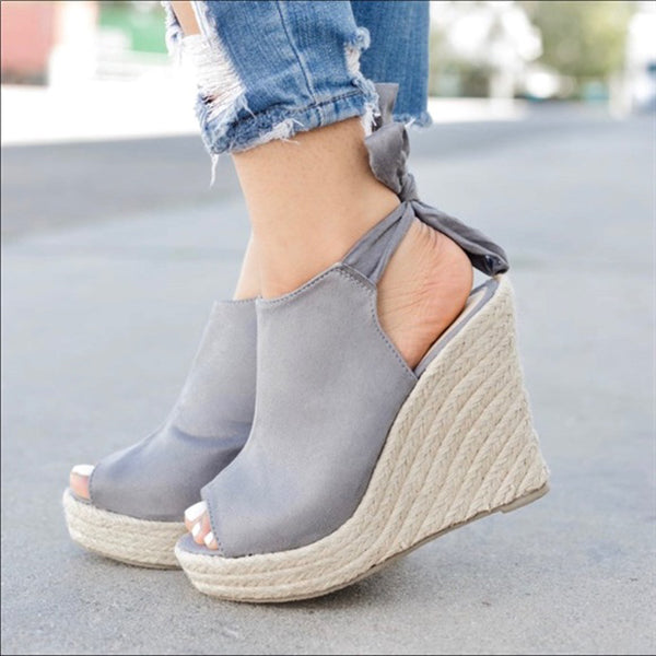 Fish Toe Wedge Lace-Up Sandals