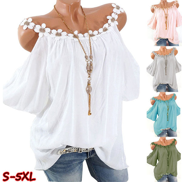 Plus Size Strapless Flower Solid Color Blouse