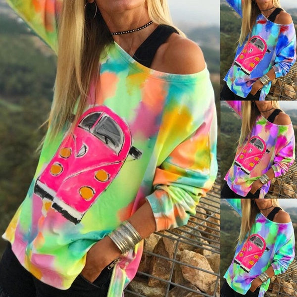 Casual Muticolor Sweatshirt Plus Size Blouses