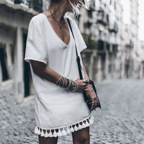 Daily Casual V Neck Tassel Dress
