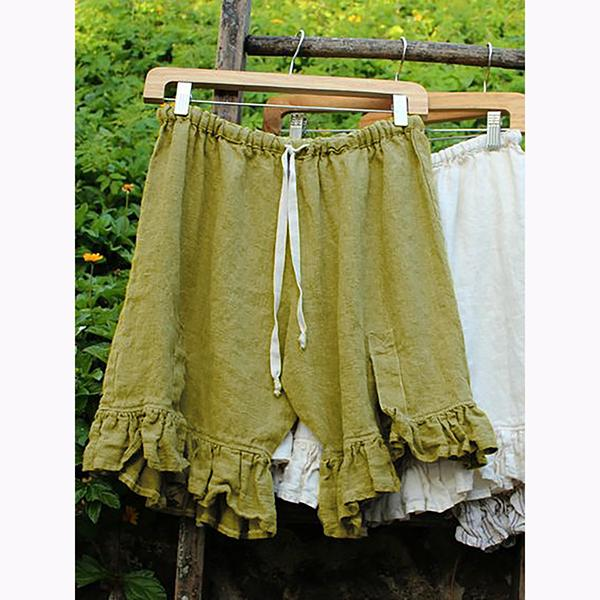 Solid Color Elastic Band Ruffle Short Pants