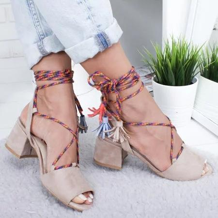Summer Peep Toe Strappy Chunky Heel Sandals