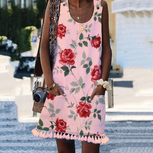Flower Printed Sleeveless Tassel Dress