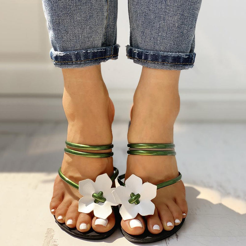 FLORAL EMBELLISHED TOE RING CASUAL SLIPPERS