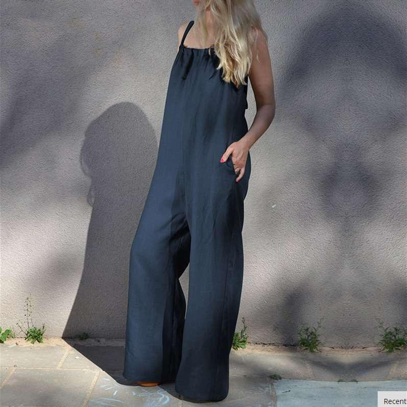 Summer New Sleeveless Backless Casual Loose Wide Leg Pants Plus Size Jumpsuit