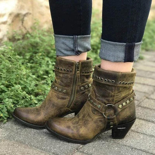 Vintage Spring/Fall Chunky Heel Boots