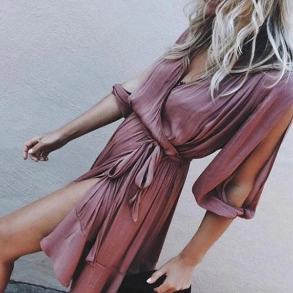 Women V Neck 3/4 Sleeve Summer Mini Dresses