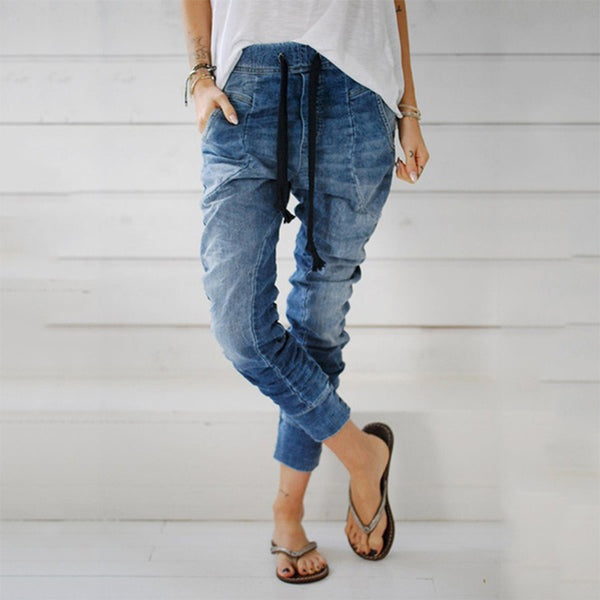 Women Pull on Stretch Jeans Drawstring Pants