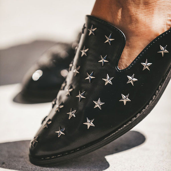 Fashion Studded Slip-On Low Heel Loafer Slipper