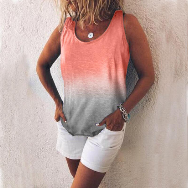 Casual Summer Gradient Color Printed Tank Tops