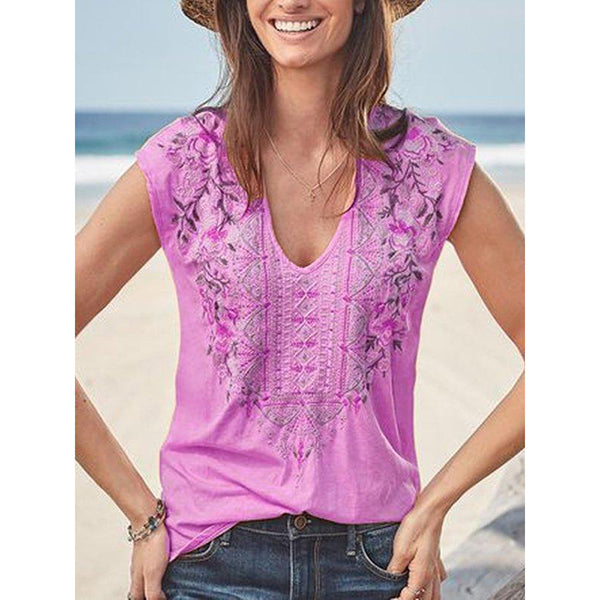 Bohemian Sleeveless V Neck Casual Blouse