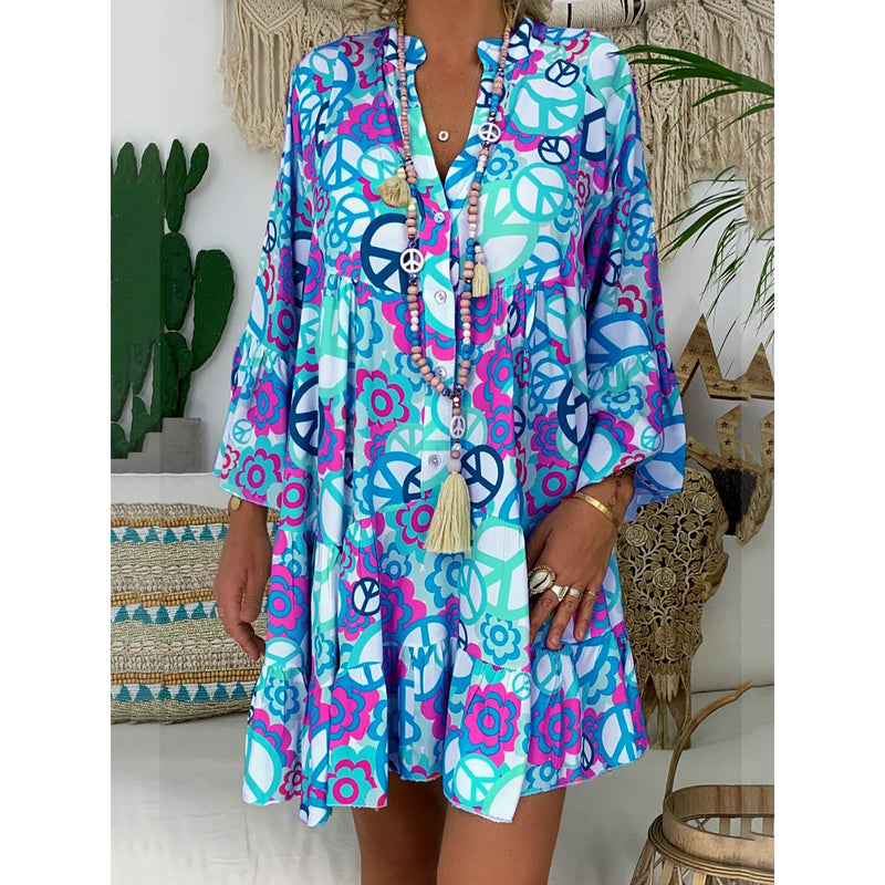 V Neck Buttoned Abstracy Printed Dresses