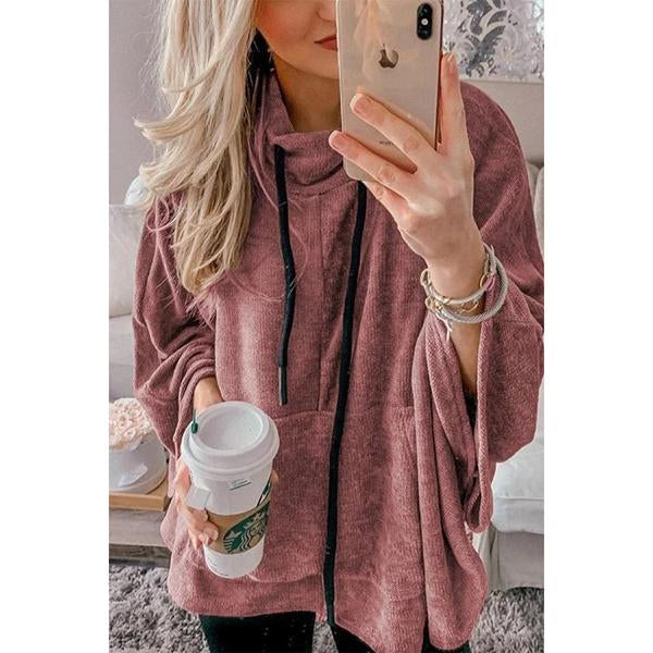Casual Solid Long Sleeve Pockets Hoodie Blouses