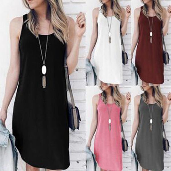 Summer Sleeveless Irregular Vest Dresses