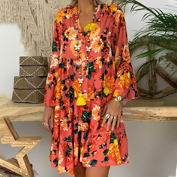 Fashion Loose V Neck Ruffle Sleeve Dress