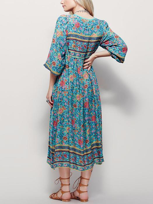 Plus Size Boho Floral Print Vintage Beach Dress