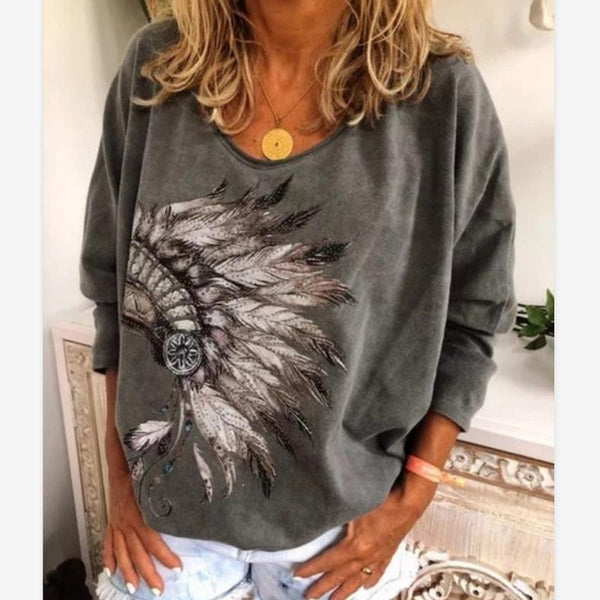 Plus Size Printed Casual Round Neck Sweatershirits