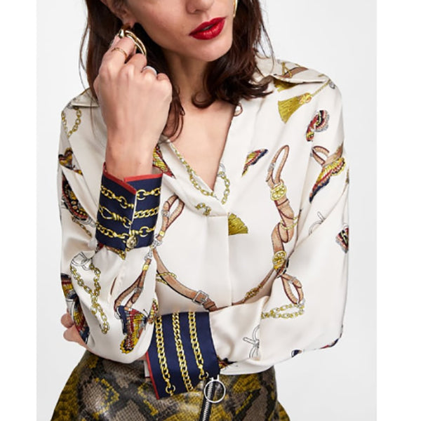 Women Chains Mixed Print Casual Blouses