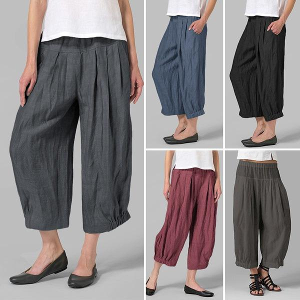 Plus Size Casual Linen/Cotton Pants