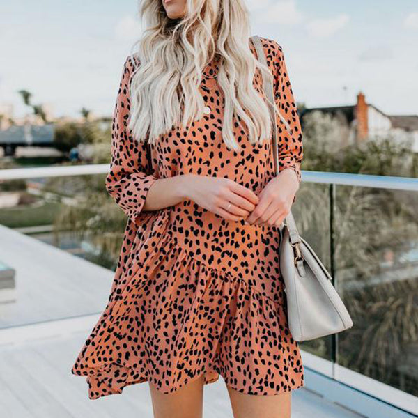 Casual Leopard 3/4 Sleeve Dress