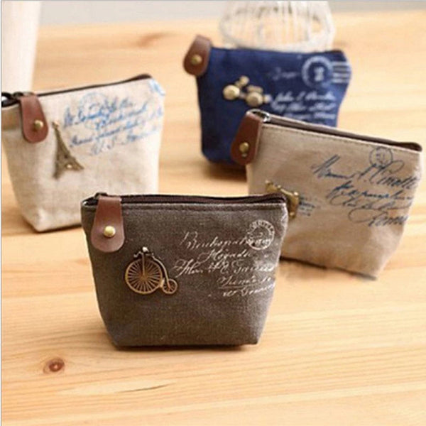Retro Style Zipper Shell Type Cute Canvas Mini Wallet