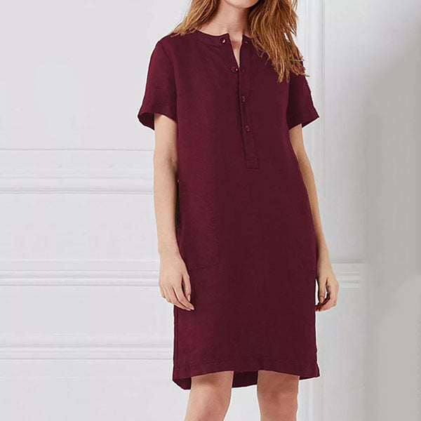 Plus Size Solid Color Button Dress