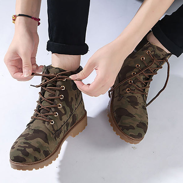 Comfy Lace-Up Velvet Martin Ankle Boots
