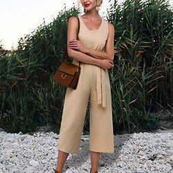 Lace-Up Solid Color Daily Jumpsuits