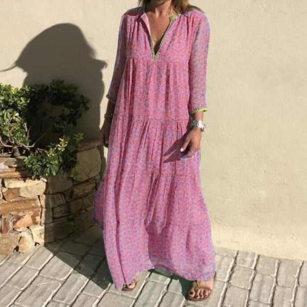 Woman's Long-sleeved V-neck Bohemian Casual Dress