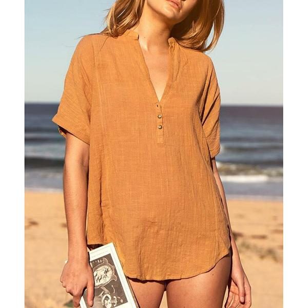 Loose V Neck Solid Color Summer Casual Blouse