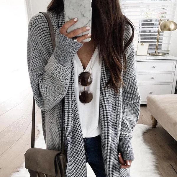 Long Sleeve Grid Outerwear Fall Coats