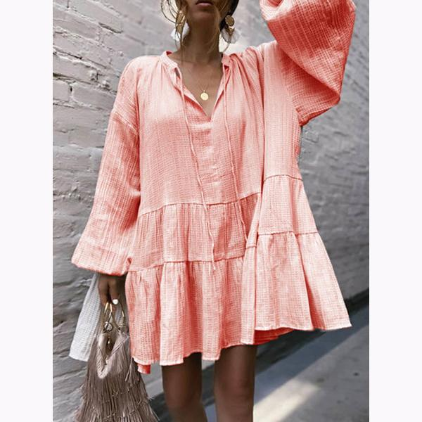 Fashion V-Neck Ruffled Dress