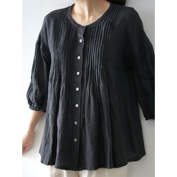 Plus Size Solid Color 3/4 Sleeve Button Blouse