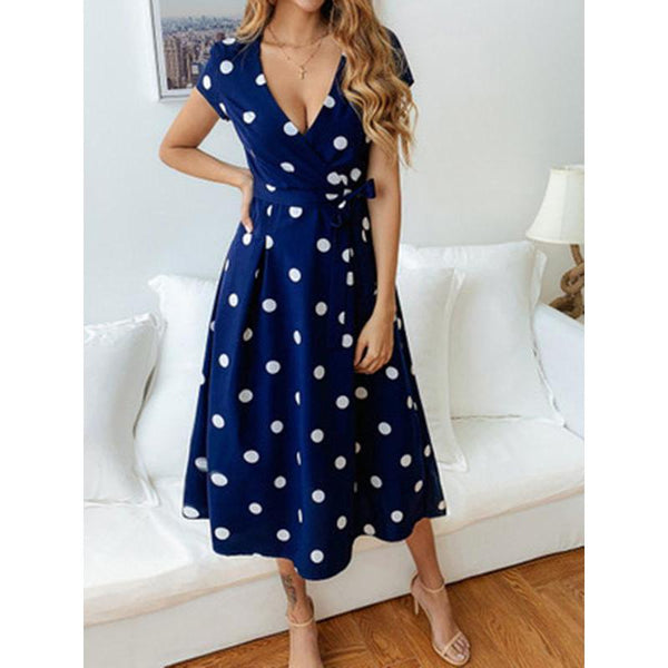 Simple Polka-dot V-neck Midi Dress