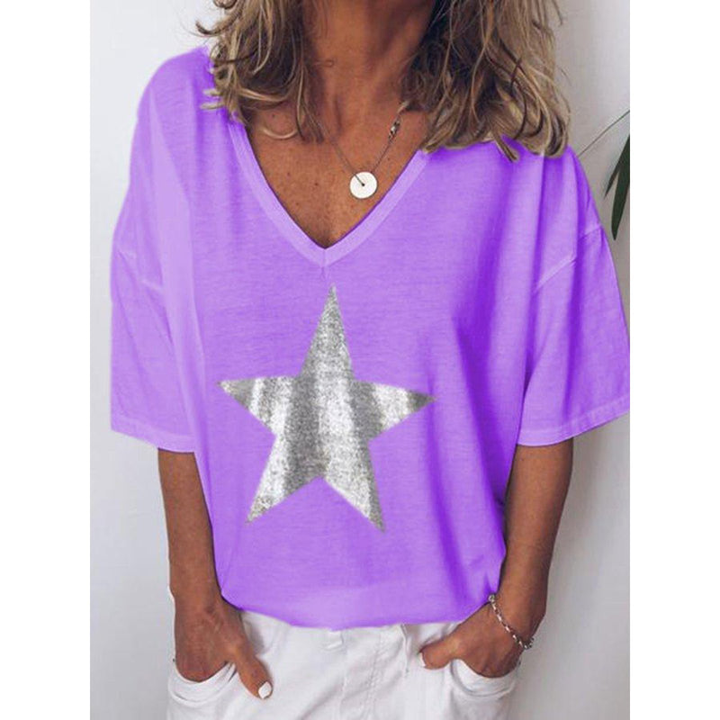 New Summer Women's  V-Neck Short-Sleeved Plus Size T-Shirt